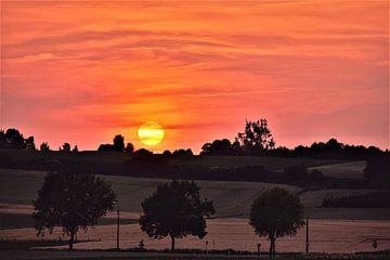 Kleurrijke zonsondergang op een prachtig Limburgs landschap sur Maarten Honinx