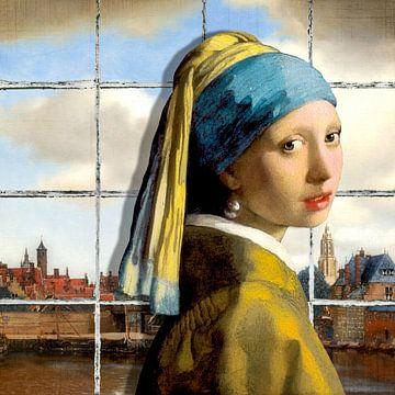 Meisje met de Parel - Gezicht op Delft von Marja van den Hurk