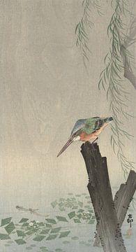 Eisvogel auf Baumstamm von Ohara Koson