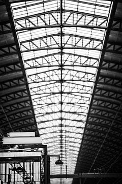 Detail van het perron en plafond van Amsterdam Centraal Station van Bart Rondeel