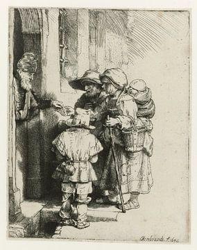 Rembrandt van Rijn, un joueur de vielle à roue aveugle avec sa famille, reçoit un polycopié.