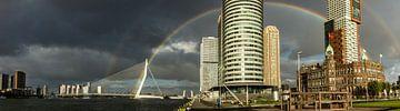 Regenboog in Rotterdam van Michel van Kooten