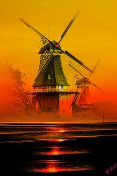 Greetsiel Windmühlen van Walter Zettl