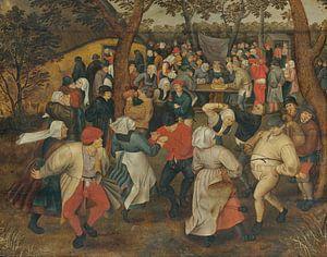 Dorpsgezicht met bruiloftsdans in de open lucht, Pieter (de Jonge) Brueghel