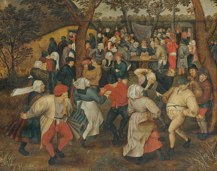 Dorpsgezicht met bruiloftsdans in de open lucht, Pieter (de Jonge) Brueghel van Meesterlijcke Meesters