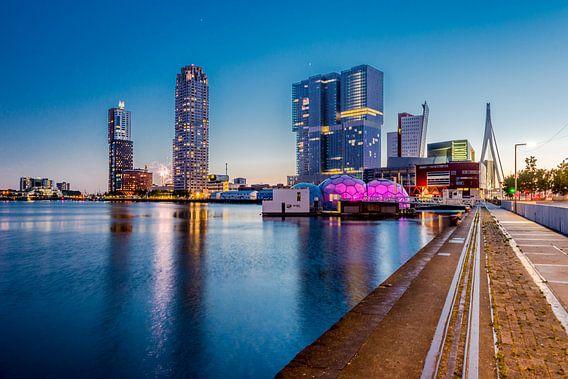 Rotterdam Skyline - Kop van Zuid bij Rijnhaven van Marco Schep