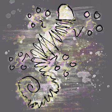 Gekko inkt en waterverf in grijs roze en geel van Emiel de Lange