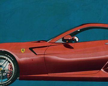Schilderij van een Ferrari 599 GTB Fiorano 2006 Detail