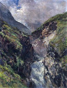 Gebirgsschlucht mit tosendem Wasserfall, EDWARD THEODORE COMPTON, Ca. 1880