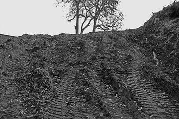 Bagger Spur auf der Baustelle in Halle Saale in Deutschland von Babetts Bildergalerie