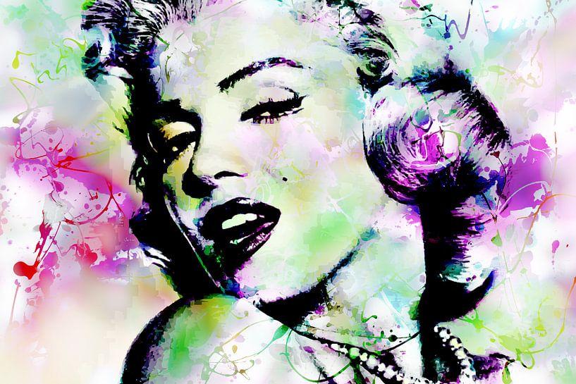 Marilyn Monroe Abstrakte Pop Art Rosa Grün von Art By Dominic