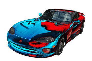 Dodge Viper RT/10 Art Car in rood-blauw van aRi F. Huber