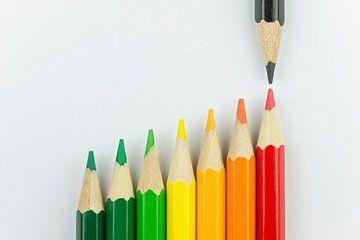 Conceptuele kleurpotloden als energielabel kleuren van Tonko Oosterink
