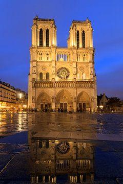 Notre-Dame regenachtige avond reflectie van Dennis van de Water