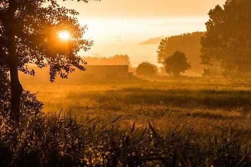 Regenachtige zonsondergang