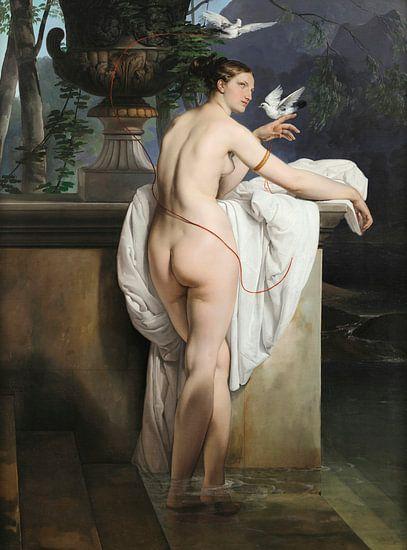 Venusgrap met twee duiven (Portret van de danseres Carlotta Chabert), Francesco Hayez