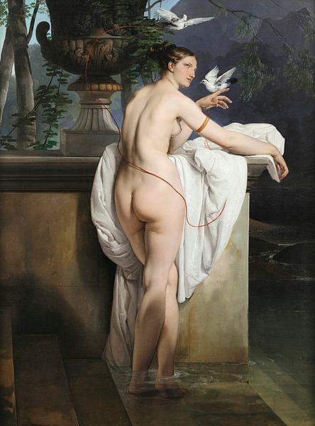 Venusgrap met twee duiven (Portret van de danseres Carlotta Chabert), Francesco Hayez van Meesterlijcke Meesters