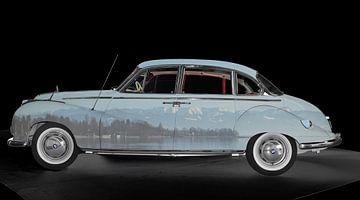 BMW 502 Art Car met Alpenpanorama van aRi F. Huber