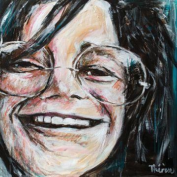 Portret  schilderij van Janis Joplin. van Therese Brals