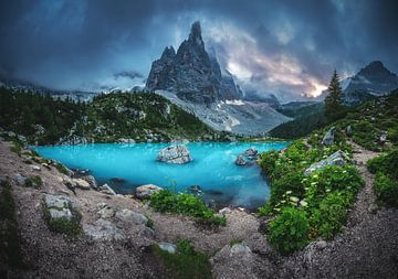 Dolomiten Lago di Sorapis Panorama am Abend von Jean Claude Castor