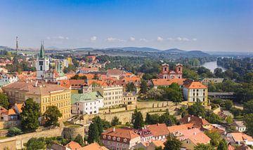 Uitzicht over de stad Litomerice en de rivier de Elbe van Marc Venema