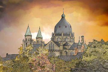 Kunstwerk: Maastricht, Emmaplein, Sint Lambertuskerkerk von Edo Illustrator