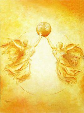 peinture d'ange - Ange Gardien de la Terre sur Marita Zacharias