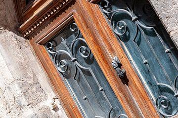 Alte braune Tür mit Beschlägen von Wil Wijnen