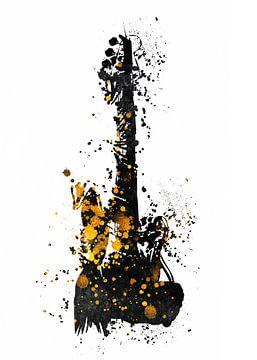 Gitaar 32 muziekkunst zwart en goud #gitaar #muziek van JBJart Justyna Jaszke