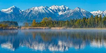 Ochtendelijke sfeer aan het meer van Hopfensee van Walter G. Allgöwer