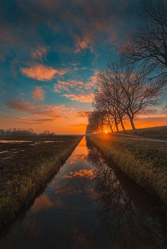 Sunset Kleverskerke van Andy Troy