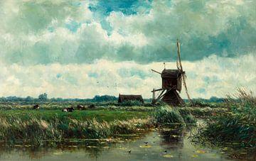 Polder landschap met molen, nabij Abcoude, Willem Roelofs