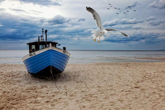 Vissersboot op het strand van het eiland Usedom