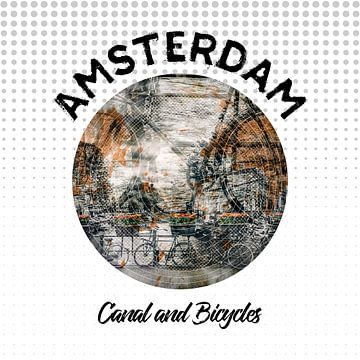 Grafische Kunst Amsterdam gracht en fietsen van Melanie Viola