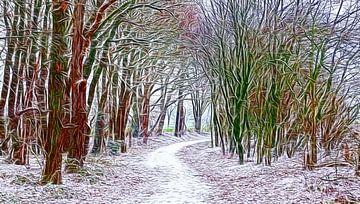 Winter-Weg (Winter-Landschap) van Caroline Lichthart