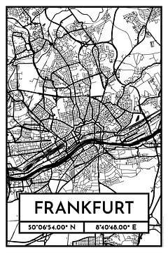 Frankfurt - Stadsplattegrondontwerp Stadsplattegrond (Retro)