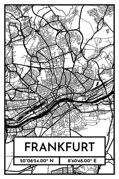 Frankfurt – City Map Design Stadtplan Karte (Retro) von ViaMapia