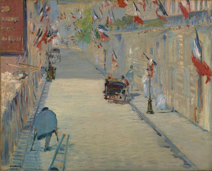 Rue Mosnier met vlaggen van Édouard Manet van Schilders Gilde