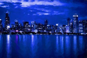 Stads skyline bij nacht van Maurice Dawson