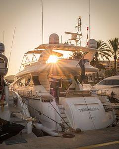 Motorjacht bij zonsondergang. Puerto Portals, Mallorca von