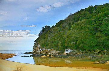 Landschap - Nieuw-Zeeland - Kust - Stukje Paradijs - Olieverf Schilderij met Etsen van Dirk van der Ven