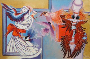Rotes Band und Chickadees von Irina Corduban