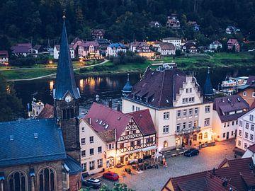 Stadt Wehlen (Saksisch Zwitserland) van Alexander Voss