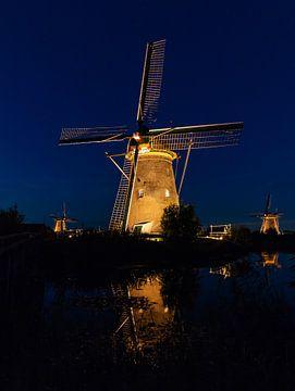 Blauwe uurtje Kinderdijk in the spotlights van