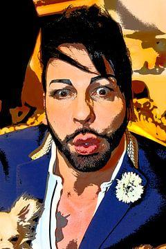 Portret van Harald Glööckler van Tom River Art