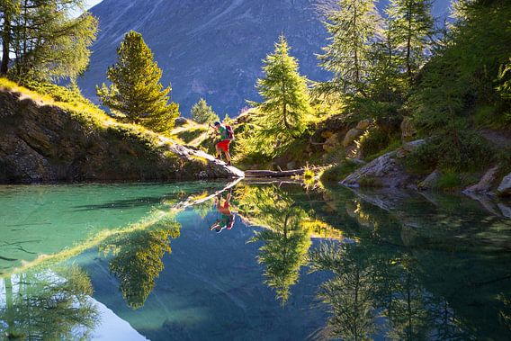 Lac Blue in Val d'Anniviers in de Zwitserse Alpen van Menno Boermans