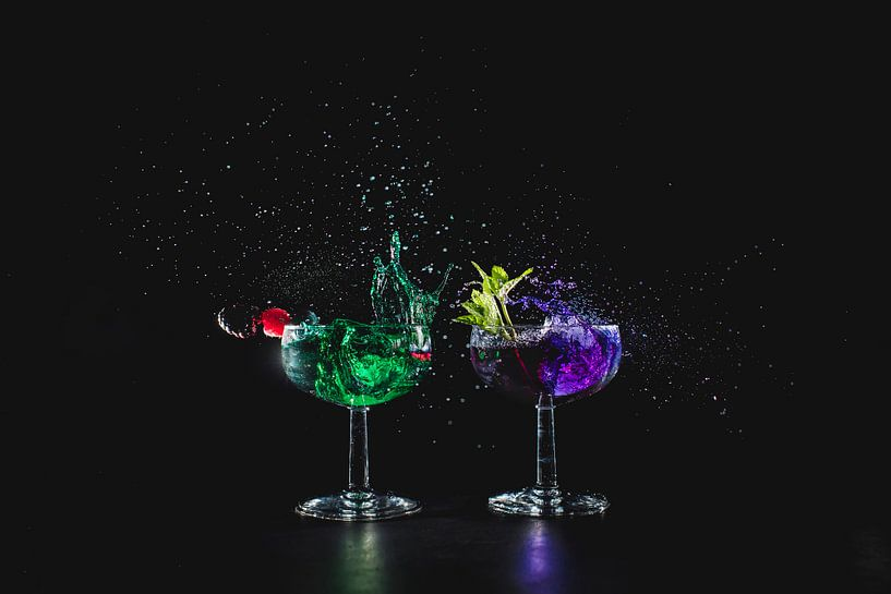 cocktail splash green groen purple paars van Corrine Ponsen