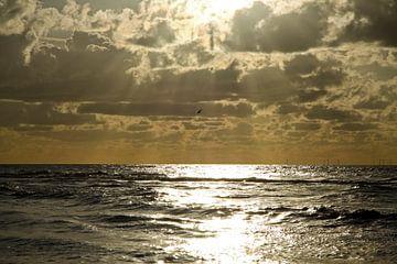 Zonnestralen over de Noordzee van Cora Unk