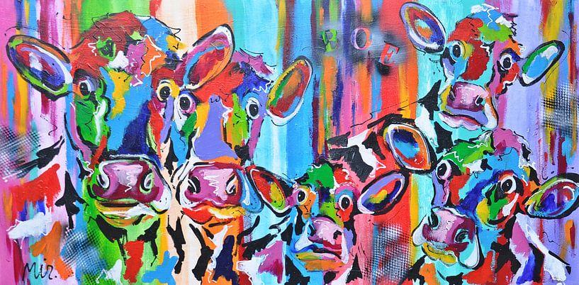 Schilderkunst  Koetjes en kalfjes van Kunstenares Mir Mirthe Kolkman van der Klip
