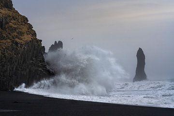 De wilde zee die tegen de rotsen beukt op het Reynisdrangar strand in het zuidelijke gedeelte van IJ van Anges van der Logt